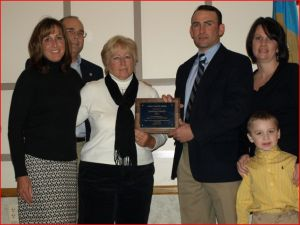 The Hastings family from Laurel, Delaware received the Farm Family Award from the FVGAD.  Pictured from left to right are Tracy and Ken Adams; Pat, Travis, Kim, and Hayden Hastings.